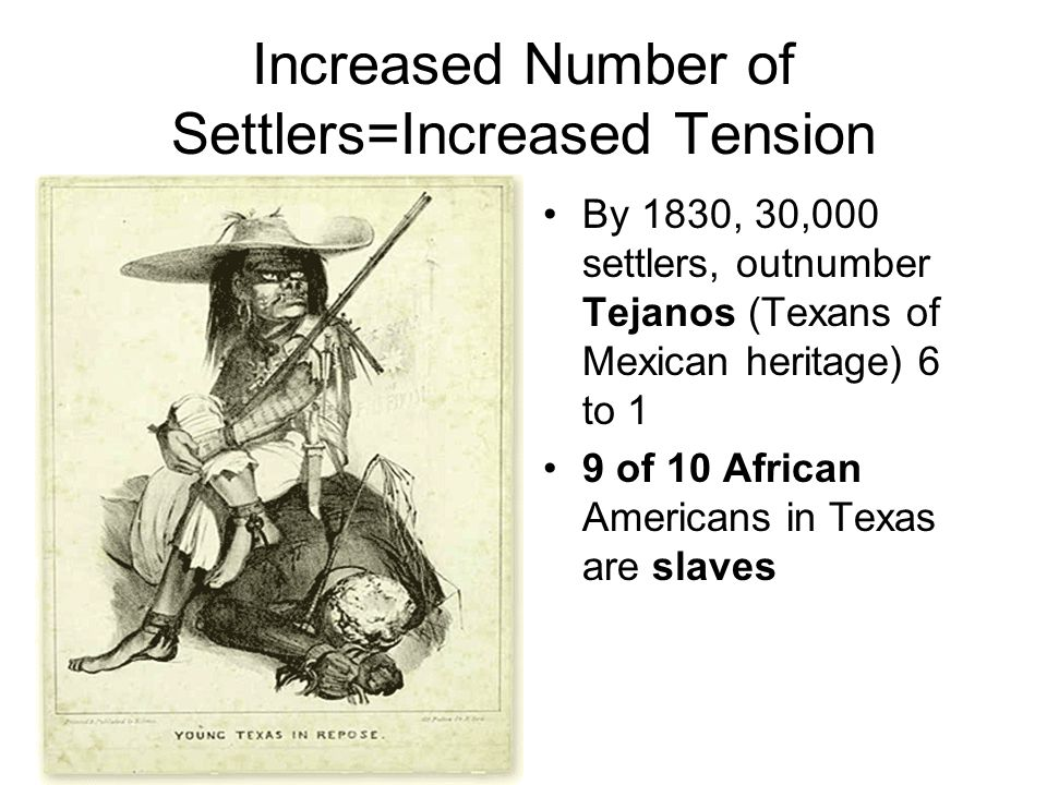Increased Number of Settlers=Increased Tension By 1830, 30,000 settlers, outnumber Tejanos (Texans of Mexican heritage) 6 to 1 9 of 10 African America