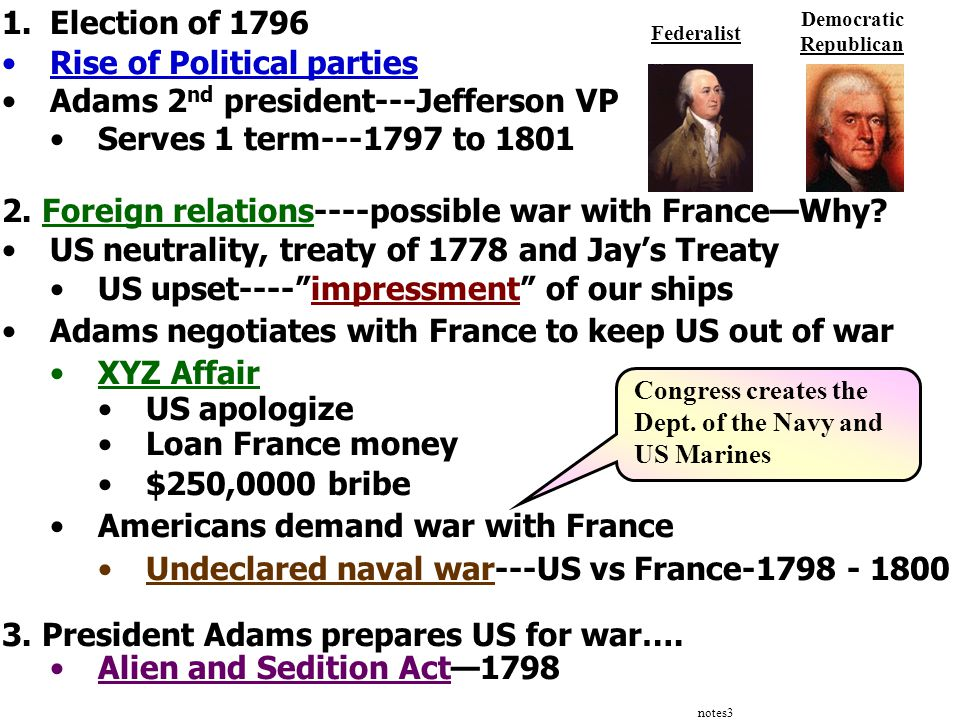 notes3 1.Election of 1796 Rise of Political parties Adams 2 nd president---Jefferson VP Serves 1 term---1797 to 1801 2. Foreign relations----possible