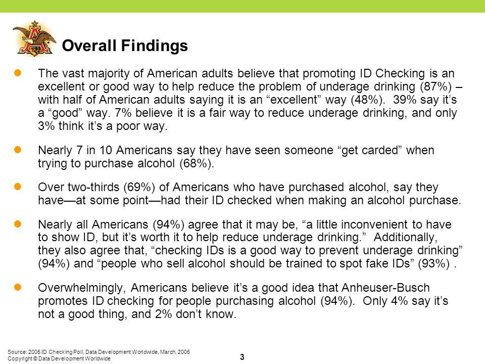 Source: 2005 ID Checking Poll, Data Development Worldwide, March, 2005 Copyright © Data Development Worldwide 14 Q2.