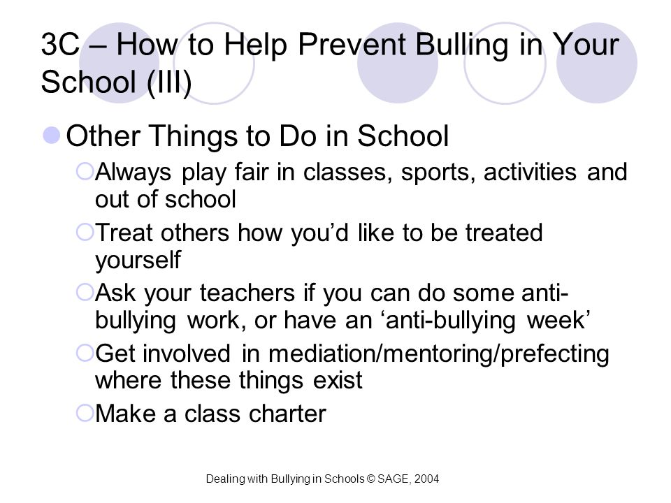 3C – How to Help Prevent Bulling in Your School (III) Other Things to Do in School  Always play fair in classes, sports, activities and out of school
