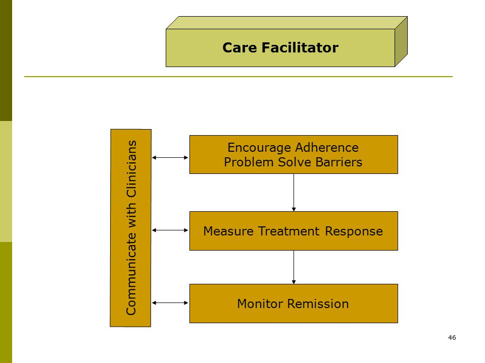 46 Care Facilitator Encourage Adherence Problem Solve Barriers Measure Treatment Response Monitor Remission Communicate with Clinicians