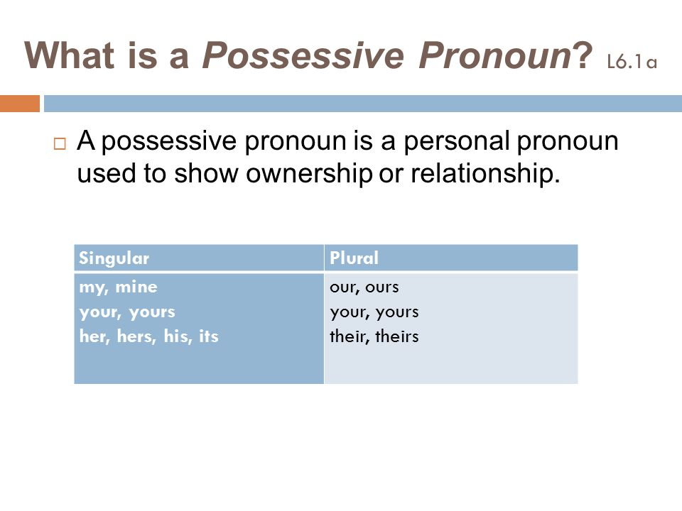 To be continued…  The possessive pronouns my, your, her, his, its, our, and their come before nouns.