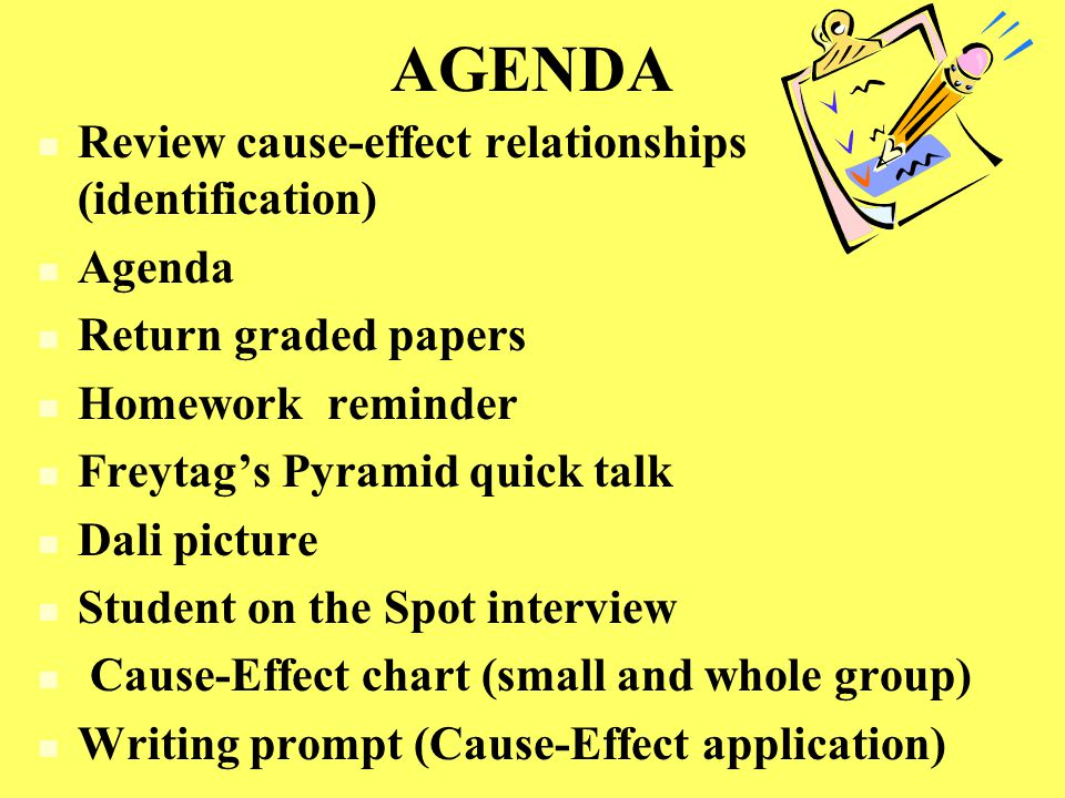 AGENDA Review cause-effect relationships (identification) Agenda Return graded papers Homework reminder Freytag's Pyramid quick talk Dali picture Student on the Spot interview Cause-Effect chart (small and whole group) Writing prompt (Cause-Effect application)