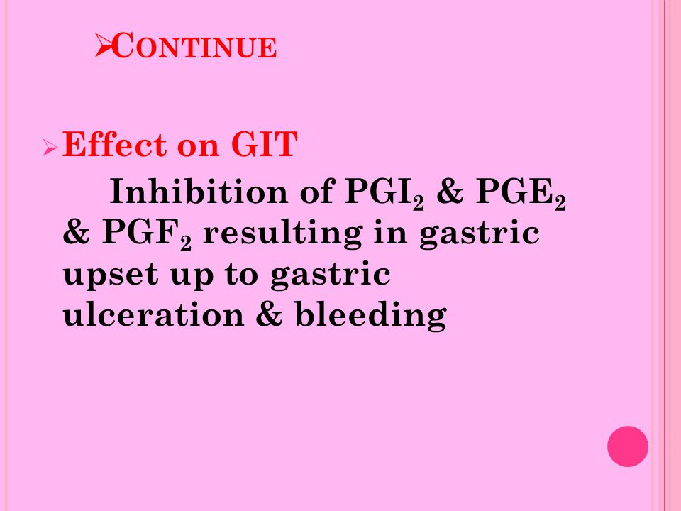  C ONTINUE  Effect on GIT Inhibition of PGI 2 & PGE 2 & PGF 2 resulting in gastric upset up to gastric ulceration & bleeding
