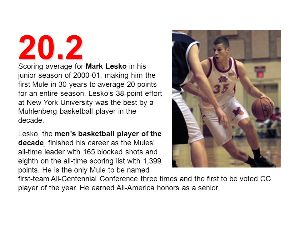 20.2 Scoring average for Mark Lesko in his junior season of 2000-01, making him the first Mule in 30 years to average 20 points for an entire season.