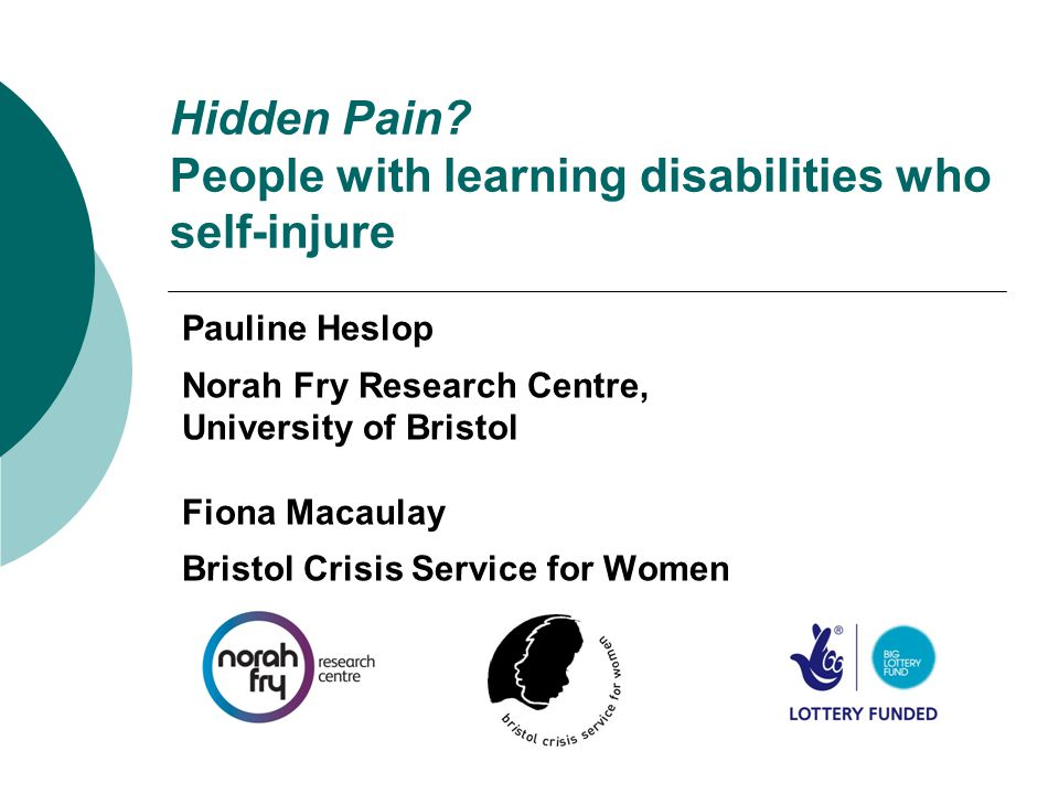 Hidden Pain? People with learning disabilities who self-injure Pauline Heslop Norah Fry Research Centre, University of Bristol Fiona Macaulay Bristol