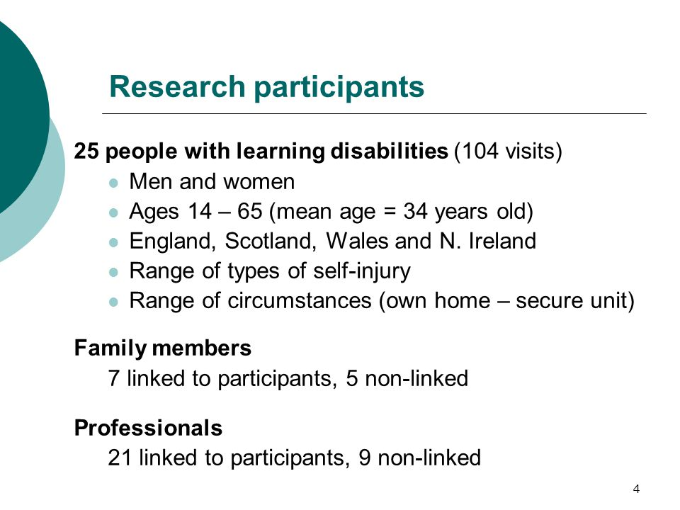 4 Research participants 25 people with learning disabilities (104 visits) Men and women Ages 14 – 65 (mean age = 34 years old) England, Scotland, Wales and N.