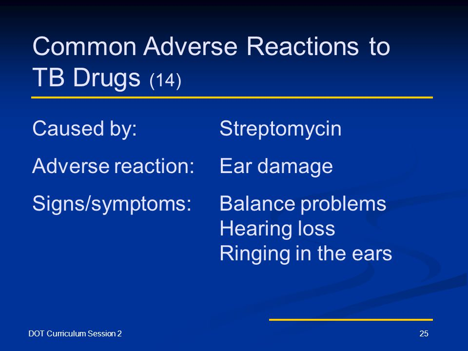 DOT Curriculum Session 225 Common Adverse Reactions to TB Drugs (14) Caused by: Streptomycin Adverse reaction:Ear damage Signs/symptoms:Balance problems Hearing loss Ringing in the ears