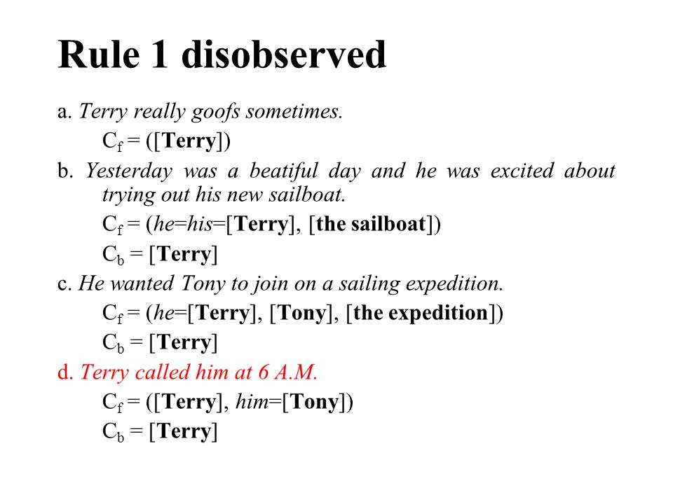Rule 1 disobserved a. Terry really goofs sometimes. C f = ([Terry]) b. Yesterday was a beatiful day and he was excited about trying out his new sailbo
