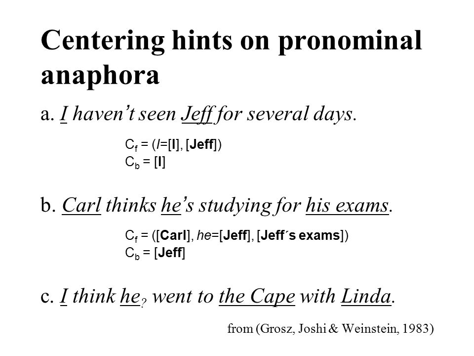Centering hints on pronominal anaphora a. I haven ' t seen Jeff for several days. b. Carl thinks he ' s studying for his exams. c. I think he ? went t