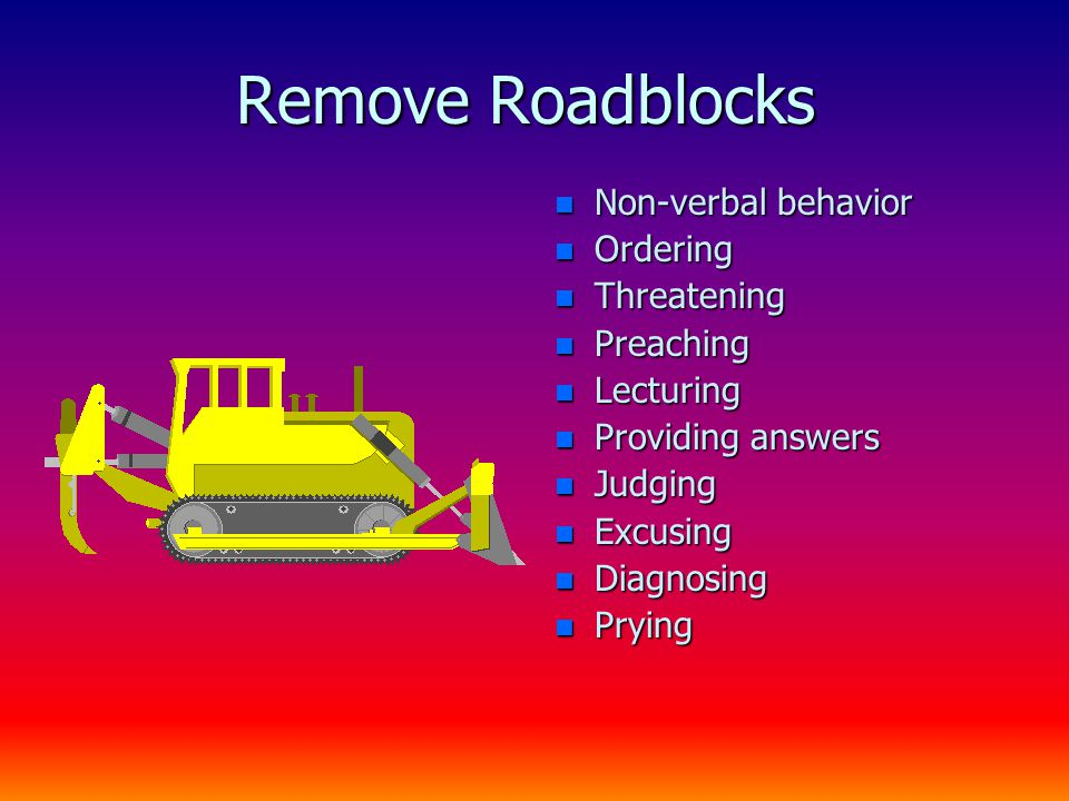 Remove Roadblocks n Non-verbal behavior n Ordering n Threatening n Preaching n Lecturing n Providing answers n Judging n Excusing n Diagnosing n Pryin