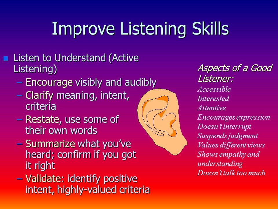 Active Listening – 5 Levels n Basic acknowledgment –Body language, nods, etc.