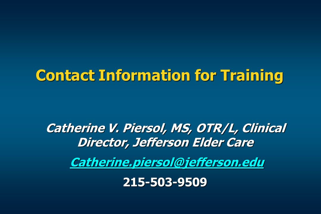 Contact Information for Training Catherine V.