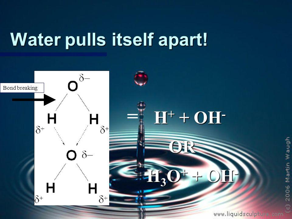 Since water pulls itself apart….