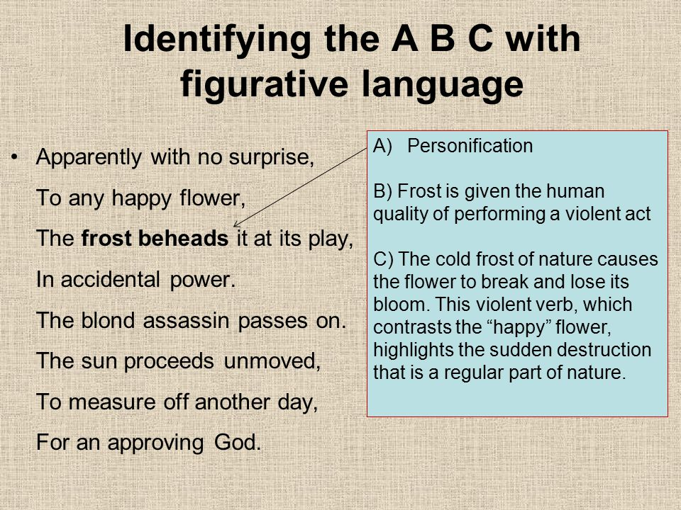 Identifying the A B C with figurative language Apparently with no surprise, To any happy flower, The frost beheads it at its play, In accidental power