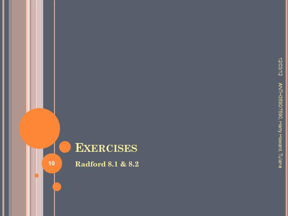 E XERCISES Radford 8.1 & 8.2 12/03/12 ANTH3590/7590, Harry Howard, Tulane 10