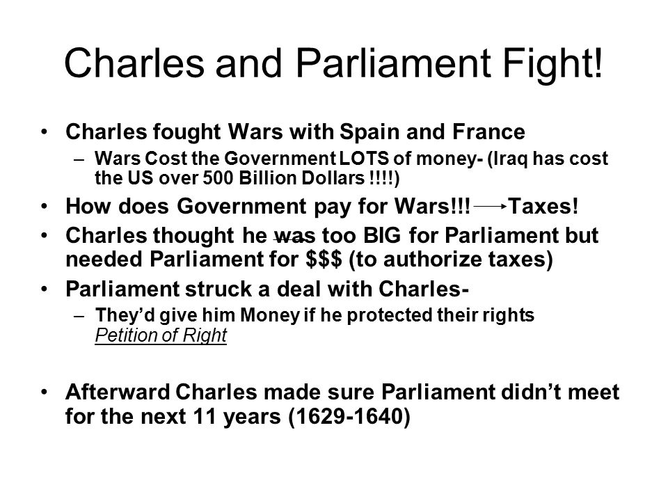 Charles and Parliament Fight.