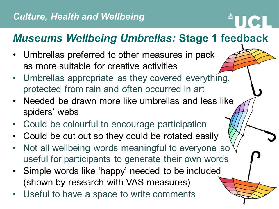 Umbrellas preferred to other measures in pack as more suitable for creative activities Umbrellas appropriate as they covered everything, protected from rain and often occurred in art Needed be drawn more like umbrellas and less like spiders' webs Could be colourful to encourage participation Could be cut out so they could be rotated easily Not all wellbeing words meaningful to everyone so useful for participants to generate their own words Simple words like 'happy' needed to be included (shown by research with VAS measures) Useful to have a space to write comments Culture, Health and Wellbeing Museums Wellbeing Umbrellas: Stage 1 feedback