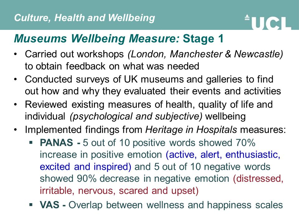 Compiled pack of measures suitable for heritage activities:  Generic Wellbeing Questionnaire (based on existing scales e.g.