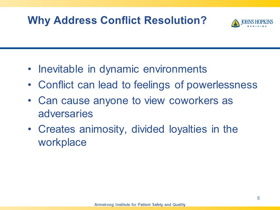 Why Address Conflict Resolution.