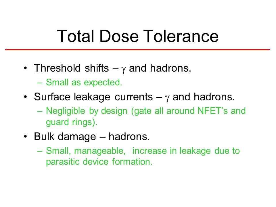 Total Dose Tolerance Threshold shifts –  and hadrons.