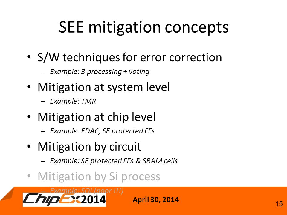 April 30, 2014 15 SEE mitigation concepts S/W techniques for error correction – Example: 3 processing + voting Mitigation at system level – Example: TMR Mitigation at chip level – Example: EDAC, SE protected FFs Mitigation by circuit – Example: SE protected FFs & SRAM cells Mitigation by Si process – Example: SOI (poor !!!)