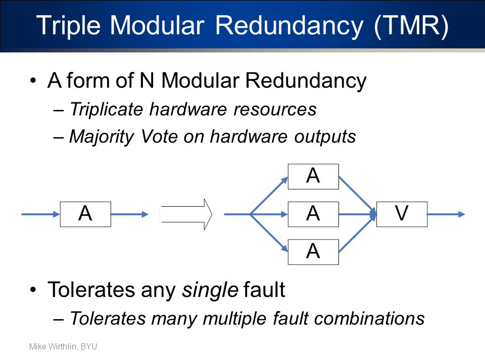 Triple Modular Redundancy (TMR) A form of N Modular Redundancy –Triplicate hardware resources –Majority Vote on hardware outputs Tolerates any single fault –Tolerates many multiple fault combinations Mike Wirthlin, BYU