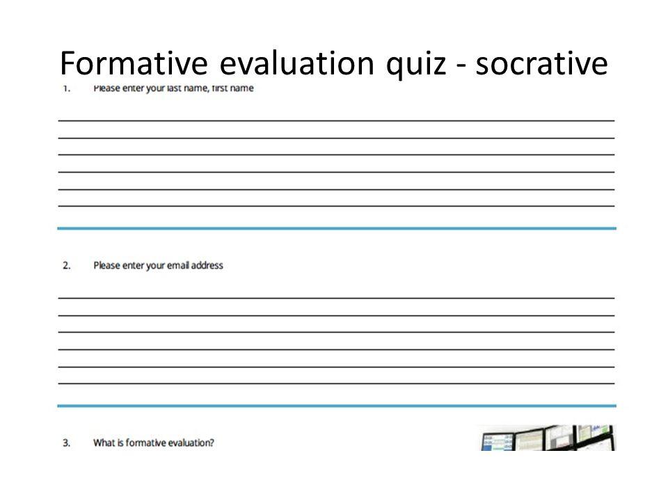 Formative evaluation quiz - socrative