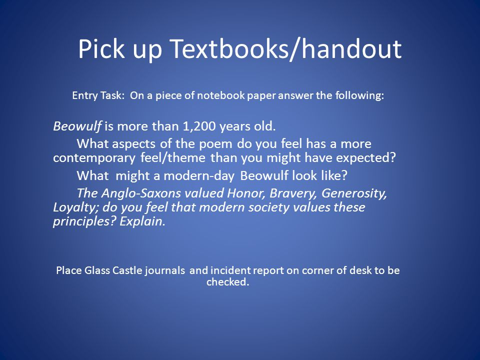 Pick up Textbooks/handout Entry Task: On a piece of notebook paper answer the following: Beowulf is more than 1,200 years old.