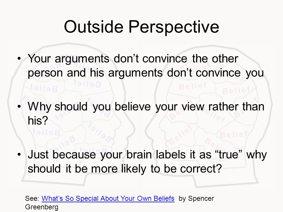 Outside Perspective Your arguments don't convince the other person and his arguments don't convince you Why should you believe your view rather than his.