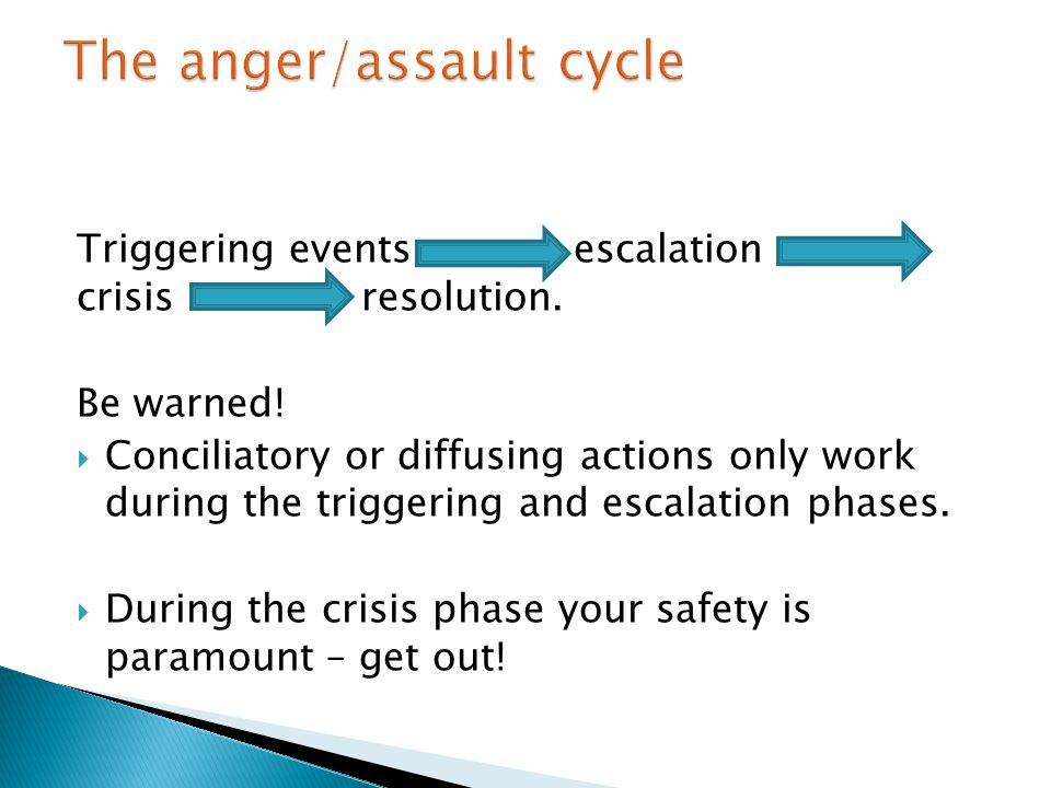 Triggering events escalation crisis resolution. Be warned.