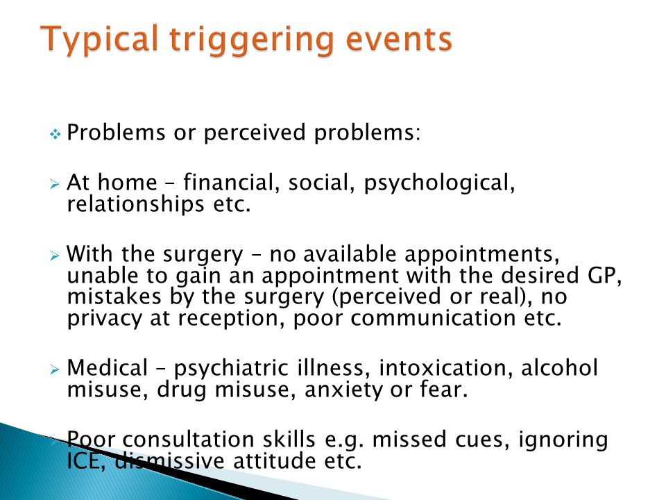  Problems or perceived problems:  At home – financial, social, psychological, relationships etc.