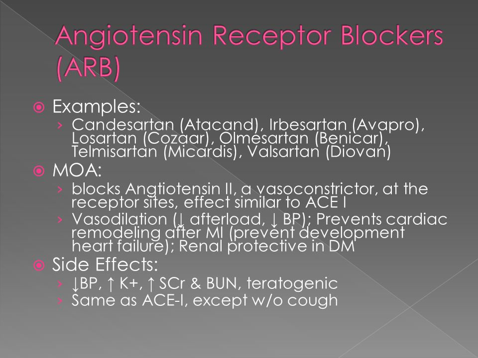  Examples › Aspirin, Clopidrogel (Plavix), Prasugrel (Effient), Dipyridimole, Ticlodipine (Ticlid)  MOA › Inhibits platelet aggregation and clot formation  Side Effects › Bleeding › GI upset, thrombocytopenia