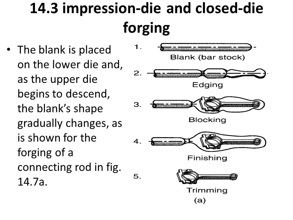 The blank is placed on the lower die and, as the upper die begins to descend, the blank's shape gradually changes, as is shown for the forging of a co