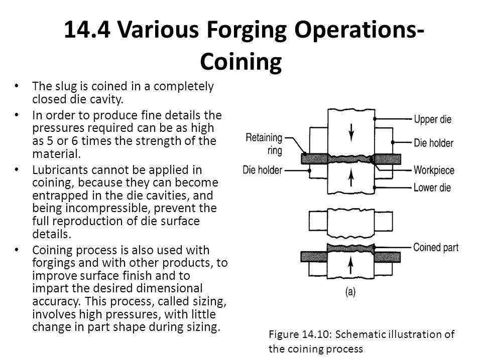 14.4 Various Forging Operations- Coining The slug is coined in a completely closed die cavity. In order to produce fine details the pressures required