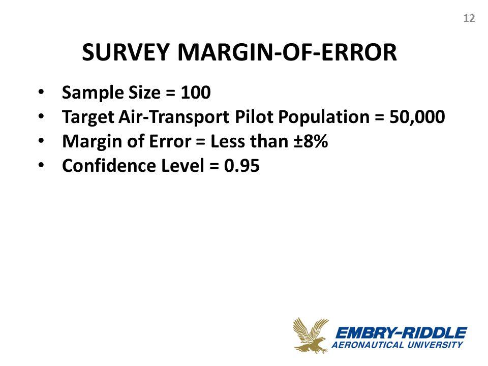 SURVEY MARGIN-OF-ERROR 12 Sample Size = 100 Target Air-Transport Pilot Population = 50,000 Margin of Error = Less than ±8% Confidence Level = 0.95