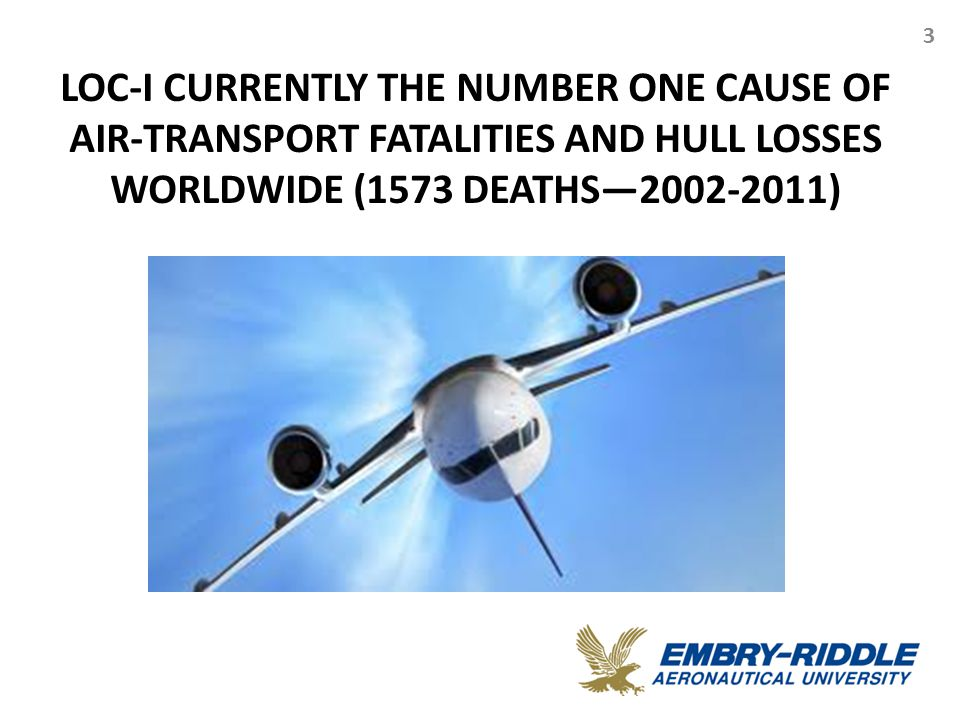 3 LOC-I CURRENTLY THE NUMBER ONE CAUSE OF AIR-TRANSPORT FATALITIES AND HULL LOSSES WORLDWIDE (1573 DEATHS—2002-2011)