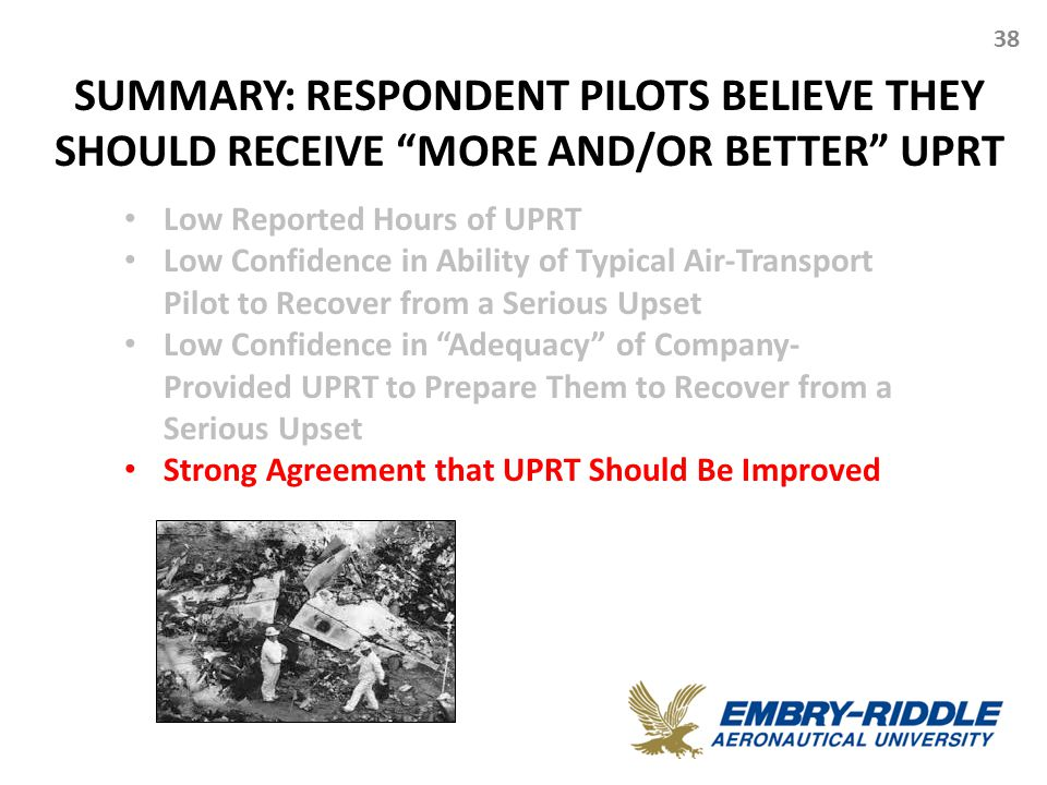 "SUMMARY: RESPONDENT PILOTS BELIEVE THEY SHOULD RECEIVE ""MORE AND/OR BETTER"" UPRT 38 Low Reported Hours of UPRT Low Confidence in Ability of Typical Ai"