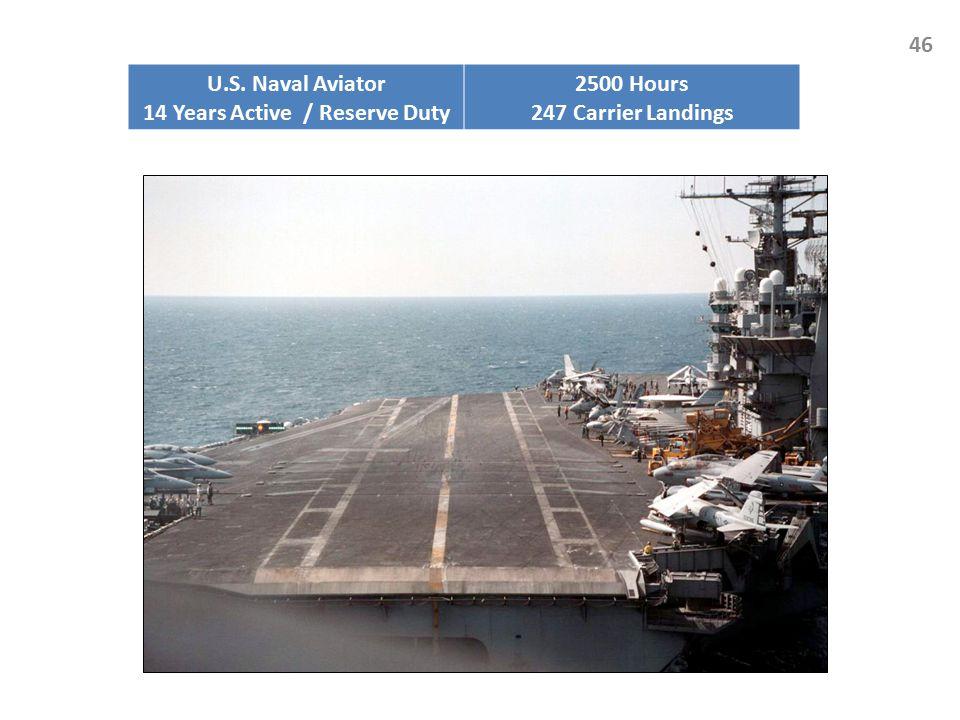 46 U.S. Naval Aviator 14 Years Active / Reserve Duty 2500 Hours 247 Carrier Landings