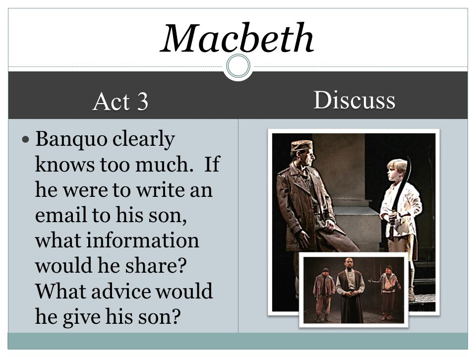 Act 3 Discuss Macbeth Banquo clearly knows too much.