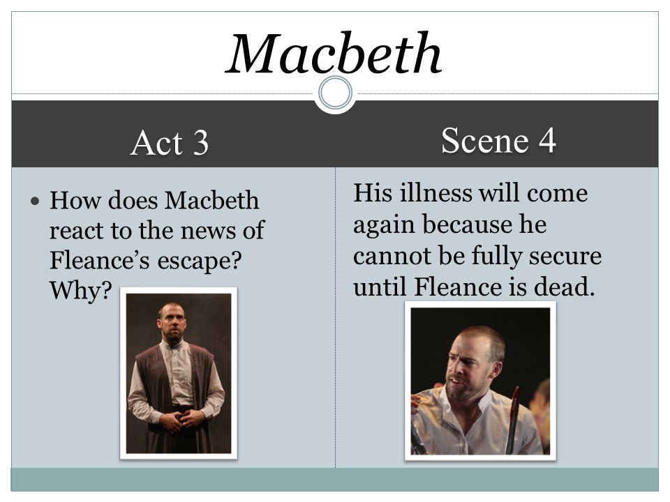 Act 3 Scene 4 His illness will come again because he cannot be fully secure until Fleance is dead.