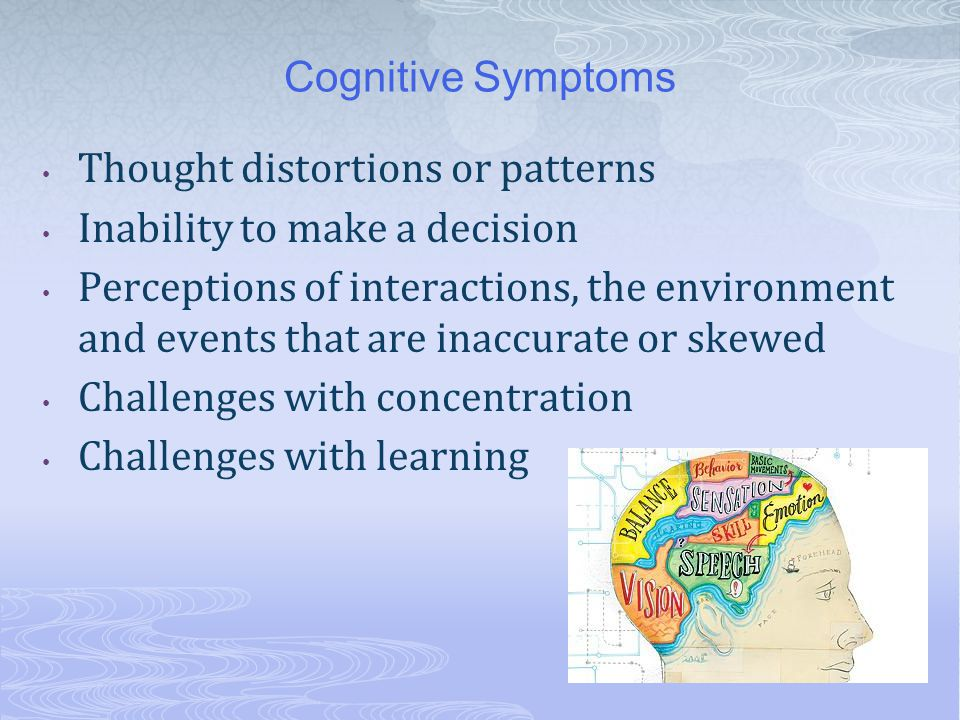 Cognitive Symptoms Thought distortions or patterns Inability to make a decision Perceptions of interactions, the environment and events that are inacc