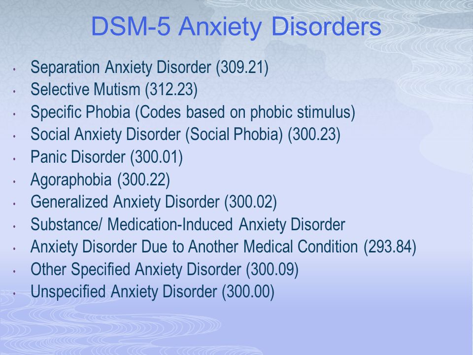 DSM-5 Anxiety Disorders Separation Anxiety Disorder (309.21) Selective Mutism (312.23) Specific Phobia (Codes based on phobic stimulus) Social Anxiety