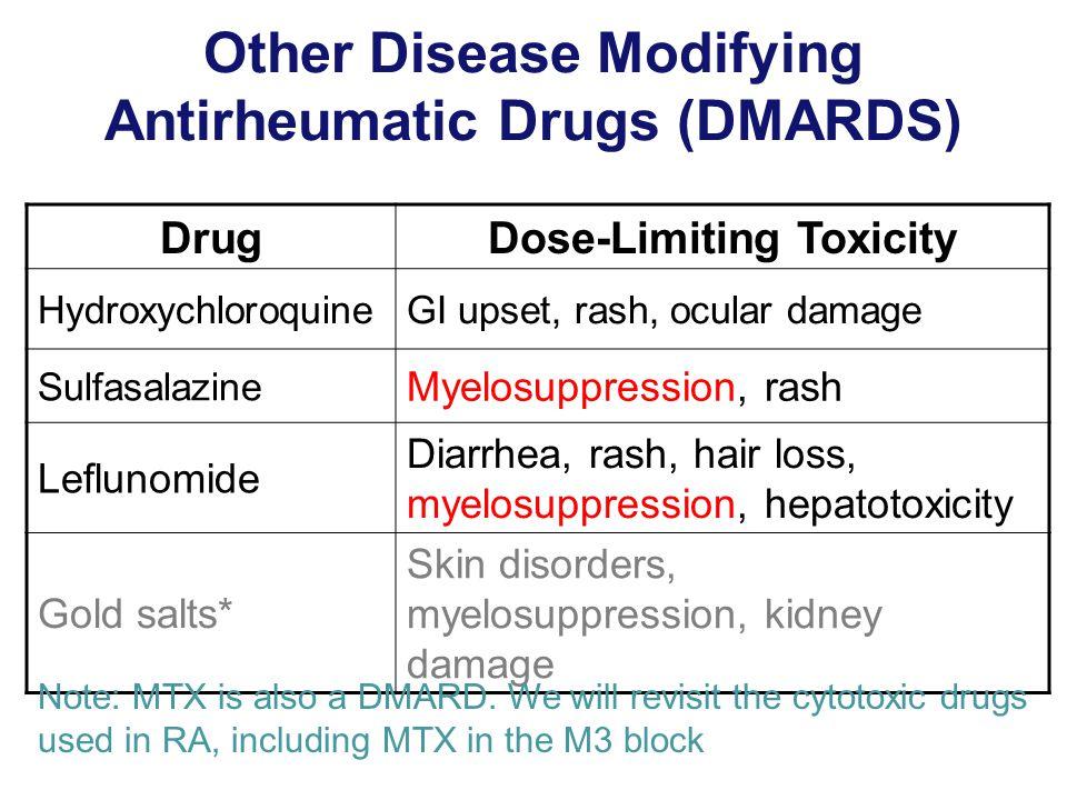 Other Disease Modifying Antirheumatic Drugs (DMARDS) DrugDose-Limiting Toxicity HydroxychloroquineGI upset, rash, ocular damage Sulfasalazine Myelosuppression, rash Leflunomide Diarrhea, rash, hair loss, myelosuppression, hepatotoxicity Gold salts* Skin disorders, myelosuppression, kidney damage Note: MTX is also a DMARD.