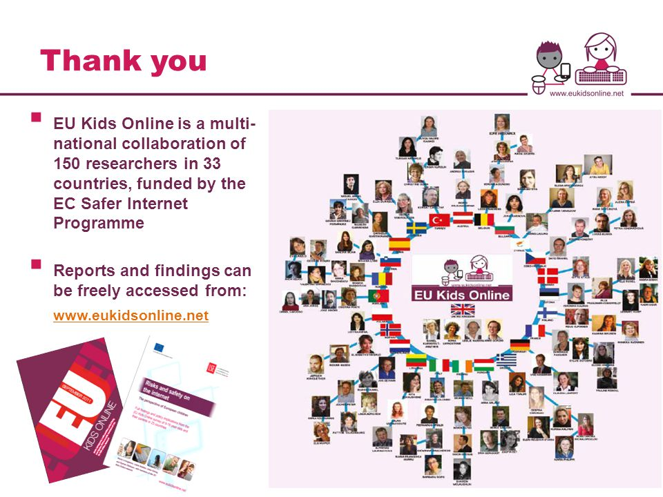 Thank you  EU Kids Online is a multi- national collaboration of 150 researchers in 33 countries, funded by the EC Safer Internet Programme  Reports and findings can be freely accessed from: www.eukidsonline.net