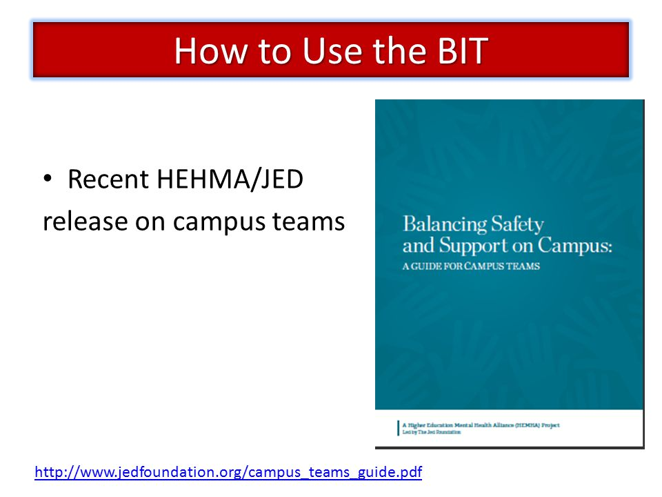Recent HEHMA/JED release on campus teams http://www.jedfoundation.org/campus_teams_guide.pdf How to Use the BIT