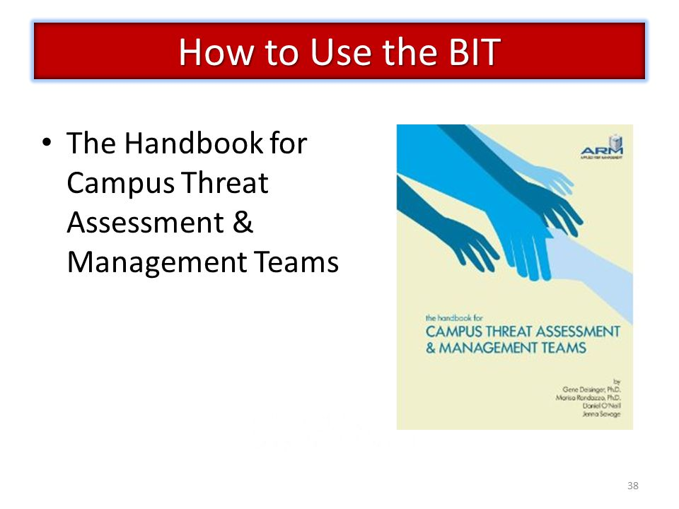 38 The Handbook for Campus Threat Assessment & Management Teams How to Use the BIT