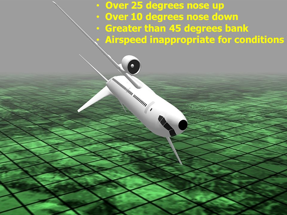 Over 25 degrees nose up Over 10 degrees nose down Greater than 45 degrees bank Airspeed inappropriate for conditions