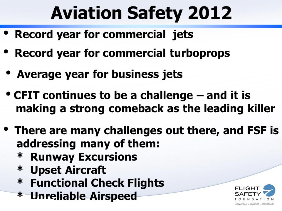 Aviation Safety 2012  Record year for commercial jets  Record year for commercial turboprops  CFIT continues to be a challenge – and it is making a strong comeback as the leading killer  There are many challenges out there, and FSF is addressing many of them: * Runway Excursions * Upset Aircraft * Functional Check Flights * Unreliable Airspeed  Average year for business jets