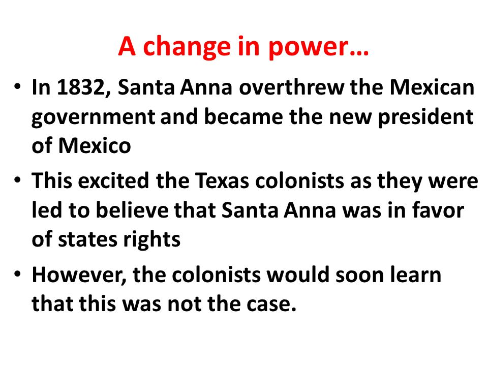 Convention of 1832 After the convention of 1832 SFA went to Mexico City to deliver the colonists requests While in Mexico City, a couple of things happened: – SFA is forced to wait to have his voice heard by the Mexican Government – Colonists drafted a constitution at the Convention of 1833 calling for the independent Mexican-state of Texas – SFA writes a letter telling colonists to create a new government for the independent Mexican State of Texas.